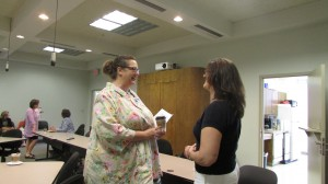 Grant Committee Member Kathryn Droder and Tyler Family Circle of Care representative Linda Isabell discuss the WF grant application process.